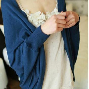 Long Sleeve Batwing Autumn Cardigan - Blue, Black, Red, Grey